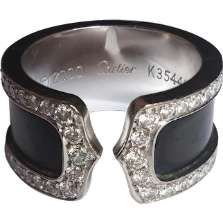 CC ring with diamonds  18K titanium by Cartier