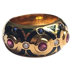 Cartier enamel diamond ruby ring vintage