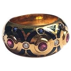 Cartier enamel diamond ruby ring vintage