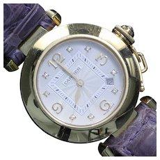Pasha de Cartier 18K Yellow Gold Diamond 2397 Ladies Wrist Watch 32mm Leather