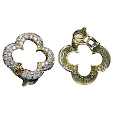 Van Cleef & Arpels 18K gold and diamond pave earrings