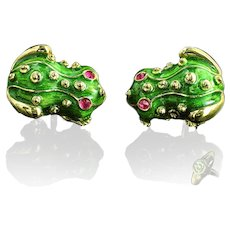 Hand carved enamel frog cufflinks