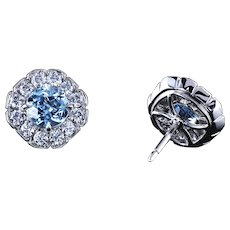 Natural aquamarines in Art Deco diamond studs