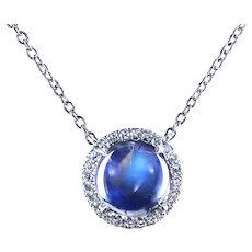 Moonstone pendant with micro pave diamonds