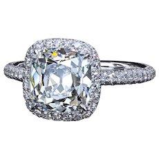 2.60 F/VS1 True Antique™ cushion diamond in micro pave halo