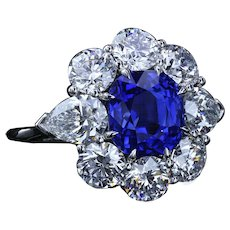 4.90 carat unheated Kashmir sapphire and diamond ring