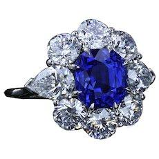 4.90 carat unheated Kashmir sapphire and diamond ring