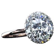 Two-tone ring with 2.90 carat European cut diamond