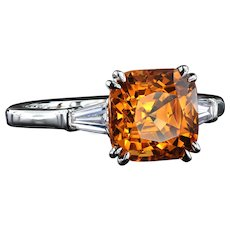 Mandarin garnet three-stone ring