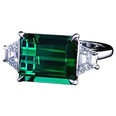 Tourmaline three-stone ring