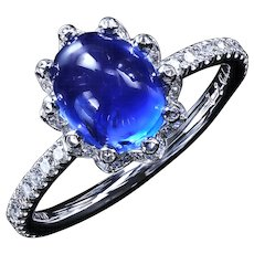 Bellflower™ micro pave ring with 3.28 ct sapphire