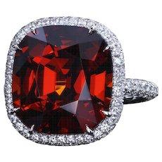 Certified 13.63 carat Bohemian garnet micro pave ring