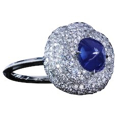 """Turban"" micro pave ring with 1.96 carat natural sugarloaf Kashmir"