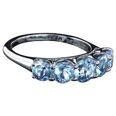 Platinum ring with antique aquamarines by Leon Mege
