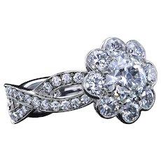"""1.07 carat GIA certified diamond in exclusive """"Fiore"""" platinum ring"""