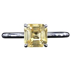 Natural yellow Asscher cut sapphire platinum ring