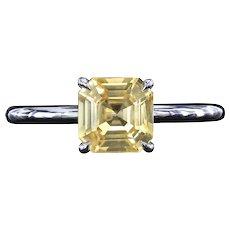 Natural yellow Asscher cut sapphire platinum ring