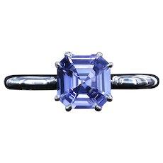 Asscher cut natural sapphire ring
