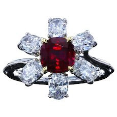 Unheated 1.61 ct ruby ring