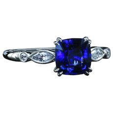 Custom made ring  with 1.48 Royal Blue sapphire