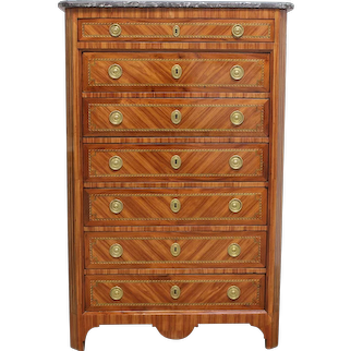 18th Century Antique French Chest or Parisian Semainier . Transition style Louis XV / Louis XVI