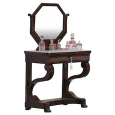19th Century Antique French Empire period mahogany dressing table.