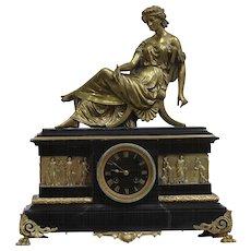 19th Century Ormolu French Empire mantel clock