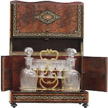 "19th Century Antique Napoleon III French inlaid amboyna and rosewood ""Cave a Liqueur"""
