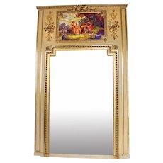 19th Century French painted and gilded Trumeau Mirror Louis XVI style