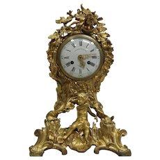 19th Century Louis XV style ormolu mantel clock