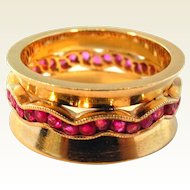 Ruby and 14K Yellow Gold Wave Motif Band Ring