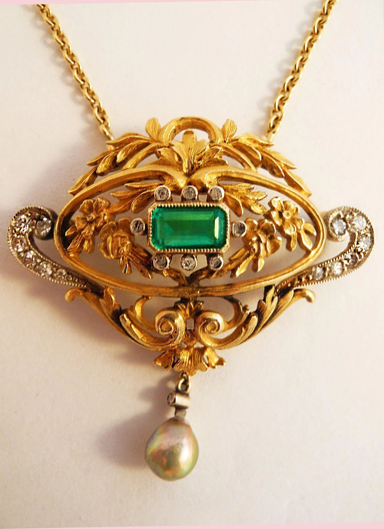 Antique Emerald Pearl Diamond Amp Gold Pendant Jan
