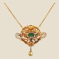 Antique Emerald, Pearl, Diamond & Gold Pendant