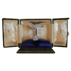 Spectacular Antique Pave Set Diamond & Platinum Eagle Motif Lapel Watch