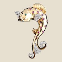 Retro Period Gold, Diamond, Ruby & Emerald Dolphin Brooch