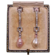 Deco Diamond, Pink & White Mississippi River Pearl & Platinum Articulated Long Earrings