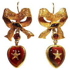 Victorian Garnet & Diamond Heart & Bow Earrings