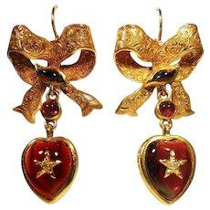 Victorian Garnet & Diamond Heart & Bow Earrings