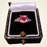 Rare No Heat Natural Padparadscha Sapphire, Diamond & Platinum Ring With GIA Cert