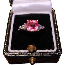 Rare No Heat Natural Padparadscha Sapphire, Diamond & Platinum Ring With GIA Cert