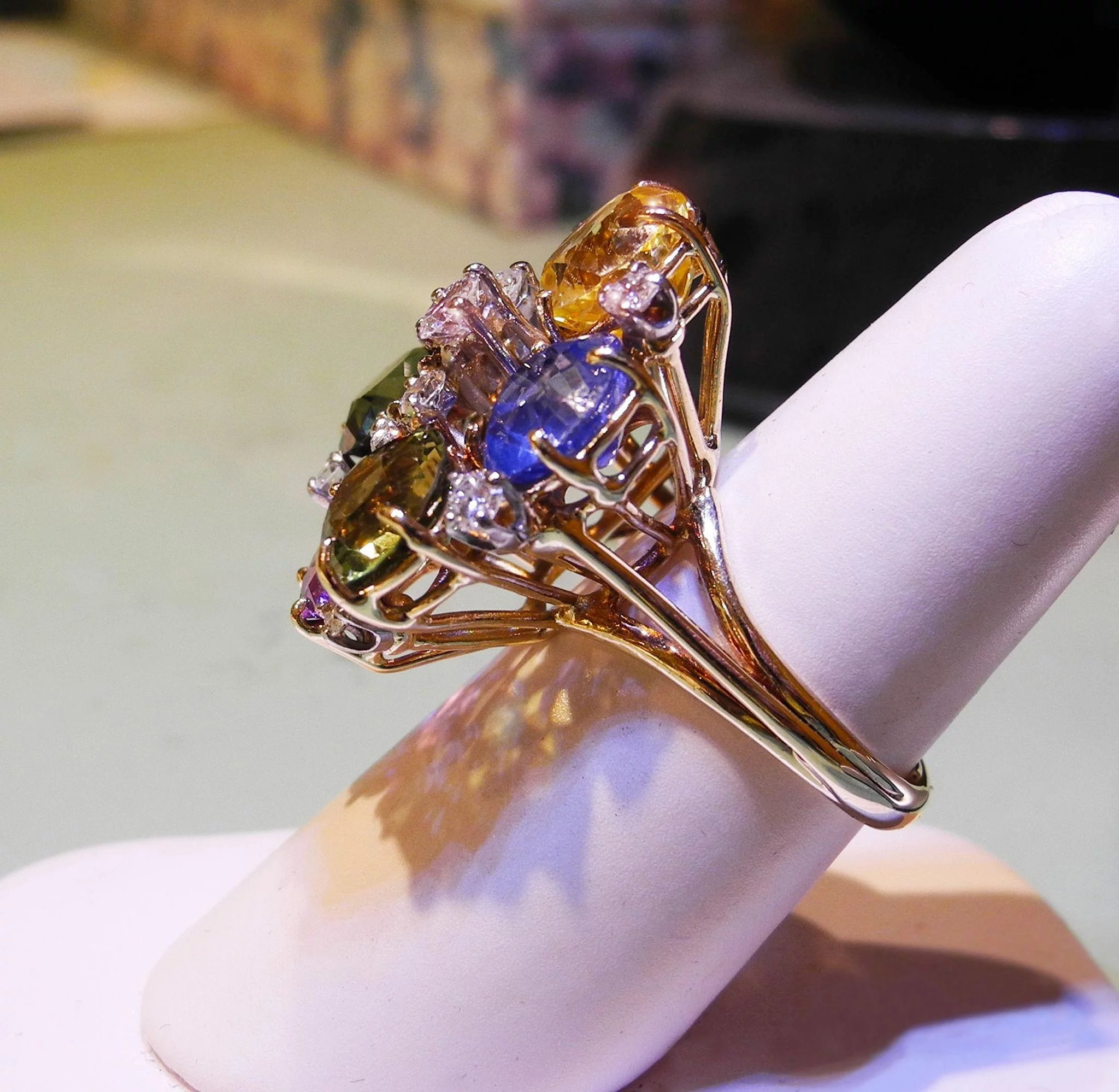 gold platinum bouquet mcclelland rings sapphire colored ring engagement diamond mcteigue flora