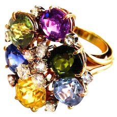 Glamorous Multi Color Sapphire, Diamond & 14K Gold Cocktail Ring