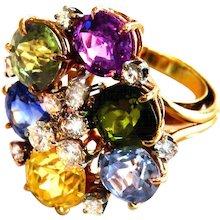 Glamorous Multi Color Sapphire, Diamond & 14K Gold Cocktail Ring