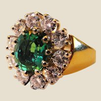 Tourmaline Diamond and 18K Gold Ring