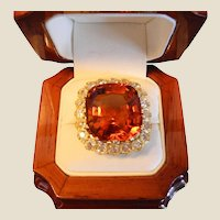 Victorian Madeira Citrine & Diamond Ring