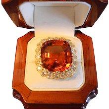 Victorian Madeira Citrine & Diamond Ring