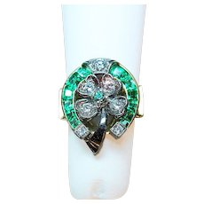 Oscar Heyman Bros. Emerald, Diamond, 18K Yellow Gold & Platinum Lucky Horseshoe & Four Leaf Clover Ring