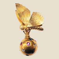 Victorian High Karat Gold Moth & Jewelled Ball Motif Pendant
