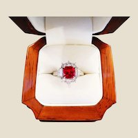 Exquisite Burma Ruby Diamond & Platinum Ring with AGL Cert
