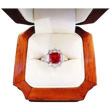 Exquisite Burma Ruby Diamond & Platinum Ring with AGL Cert